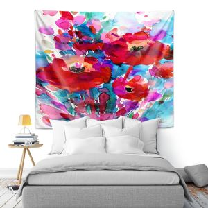 Artistic Wall Tapestry   Kathy Stanion - Enchantment 13   Nature Abstract Landscape Flowers