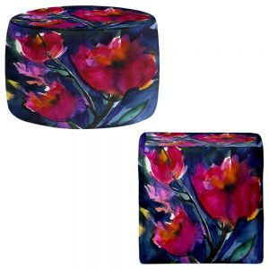 Round and Square Ottoman Foot Stools | Kathy Stanion - Floral Dreams