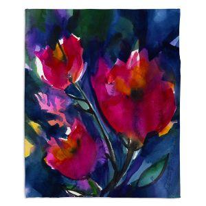 Decorative Fleece Throw Blankets | Kathy Stanion - Floral Dreams
