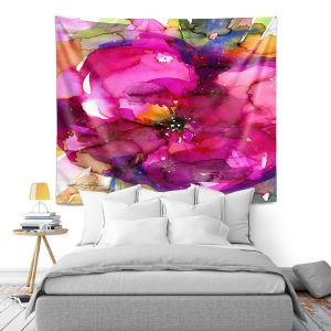 Artistic Wall Tapestry | Kathy Stanion - Floral Enchantment 8 | Nature Abstract Landscape Flowers