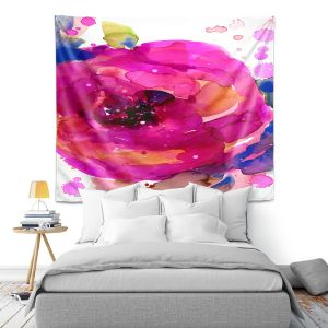 Artistic Wall Tapestry | Kathy Stanion - Floral Enchantment 9 | Nature Abstract Landscape Flowers