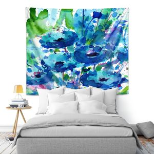 Artistic Wall Tapestry | Kathy Stanion - Flowers from the Heart 3 | Nature Abstract Landscape Flowers
