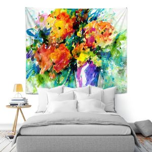 Artistic Wall Tapestry | Kathy Stanion - Flowers in Vase 2 | Nature Flowers Plants Still Life