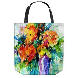 Unique Shoulder Bag Tote Bags | Kathy Stanion - Flowers in Vase 2 | Nature Flowers Plants Still Life