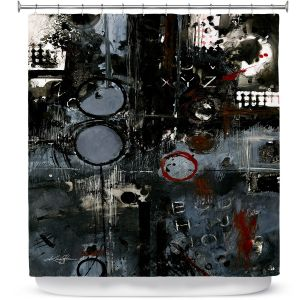 Premium Shower Curtains | Kathy Stanion - Into the Grunge | abstract shapes dark