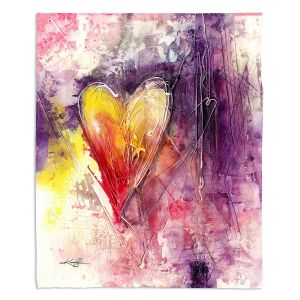 Decorative Fleece Throw Blankets | Kathy Stanion - Journey of the Heart 3 | shape love abstract dark