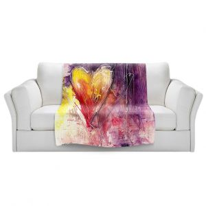 Artistic Sherpa Pile Blankets | Kathy Stanion - Journey of the Heart 3 | shape love abstract dark