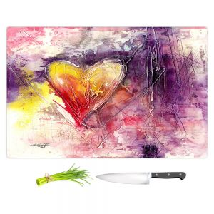 Artistic Kitchen Bar Cutting Boards | Kathy Stanion - Journey of the Heart 3 | shape love abstract dark