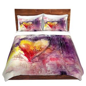 Artistic Duvet Covers and Shams Bedding | Kathy Stanion - Journey of the Heart 3 | shape love abstract dark