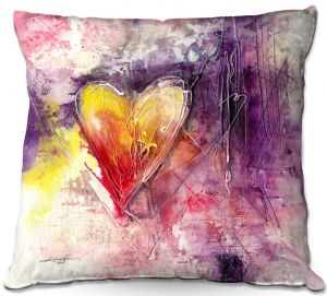 Decorative Outdoor Patio Pillow Cushion | Kathy Stanion - Journey of the Heart 3 | shape love abstract dark