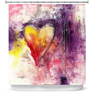 Premium Shower Curtains | Kathy Stanion - Journey of the Heart 3 | shape love abstract dark