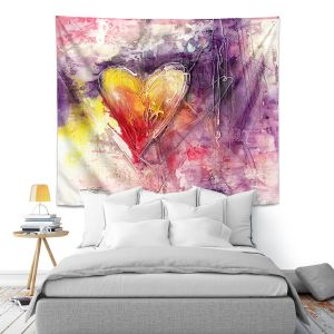 Artistic Wall Tapestry | Kathy Stanion - Journey of the Heart 3 | shape love abstract dark