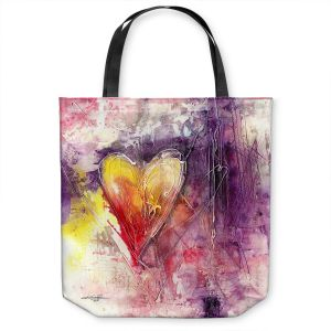 Unique Shoulder Bag Tote Bags | Kathy Stanion - Journey of the Heart 3 | shape love abstract dark