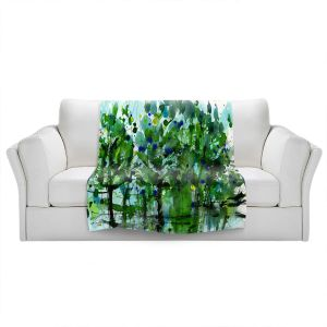 Artistic Sherpa Pile Blankets | Kathy Stanion - Long Among Trees 7 | Nature Trees Forests