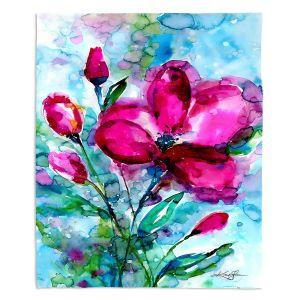 Decorative Fleece Throw Blankets | Kathy Stanion - Magenta Joy | Nature Flowers