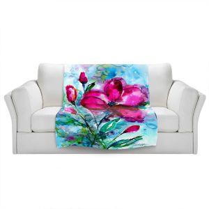 Artistic Sherpa Pile Blankets | Kathy Stanion - Magenta Joy | Nature Flowers
