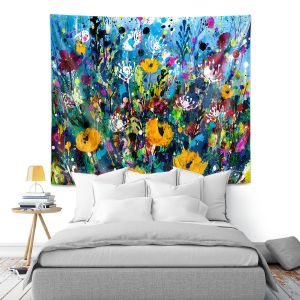 Artistic Wall Tapestry   Kathy Stanion - Meadow Magic 2   Nature Flowers