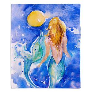 Decorative Fleece Throw Blankets | Kathy Stanion - Moon Wish Mermaid