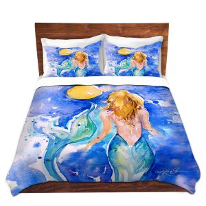 Artistic Duvet Covers and Shams Bedding | Kathy Stanion - Moon Wish Mermaid