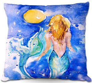 Throw Pillows Decorative Artistic | Kathy Stanion Moon Wish Mermaid
