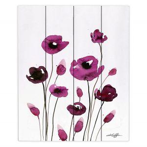 Decorative Wood Plank Wall Art | Kathy Stanion - Organic Impressions 411 | Nature Flowers