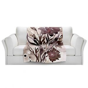 Artistic Sherpa Pile Blankets | Kathy Stanion - Organic Impressions 115 | flower watercolor