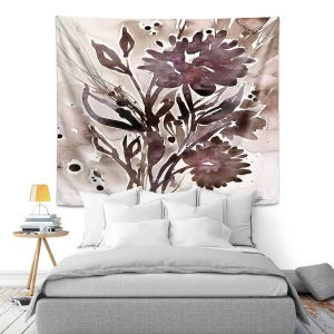 Artistic Wall Tapestry | Kathy Stanion - Organic Impressions 115 | flower watercolor