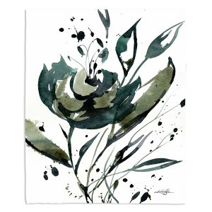 Artistic Sherpa Pile Blankets | Kathy Stanion - Organic Impressions 116 | flower watercolor
