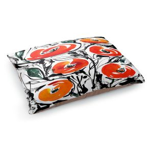 Decorative Dog Pet Beds | Kathy Stanion - Poppies Galore 1 | flower watercolor