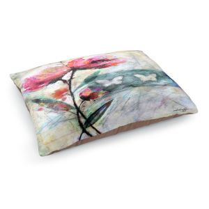 Decorative Dog Pet Beds | Kathy Stanion - Poppy Romance 2 | flower butterfly pattern