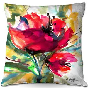 Decorative Outdoor Patio Pillow Cushion | Kathy Stanion - Serendipity 2 | Nature Flowers