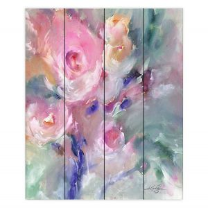 Decorative Wood Plank Wall Art | Kathy Stanion - Soft Blooms 1 | Nature Flowers