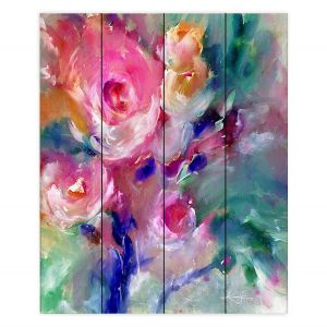 Decorative Wood Plank Wall Art | Kathy Stanion - Soft Blooms 2 | Nature Flowers