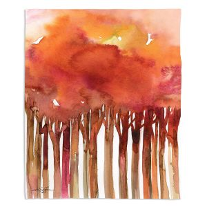 Artistic Sherpa Pile Blankets | Kathy Stanion - Tree Impressions 4 | watercolor forest silhouette