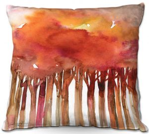 Decorative Outdoor Patio Pillow Cushion | Kathy Stanion - Tree Impressions 4 | watercolor forest silhouette