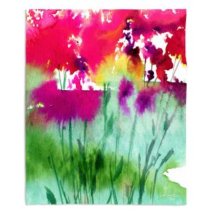 Artistic Sherpa Pile Blankets | Kathy Stanion - Walk Among the Flowers 06 | abstract floral watercolor