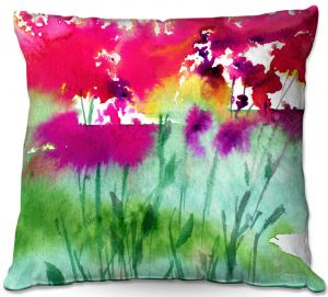 Decorative Outdoor Patio Pillow Cushion | Kathy Stanion - Walk Among the Flowers 06 | abstract floral watercolor