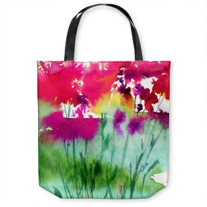 Unique Shoulder Bag Tote Bags | Kathy Stanion - Walk Among the Flowers 06 | abstract floral watercolor