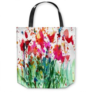 Unique Shoulder Bag Tote Bags | Kathy Stanion - Walk Among the Flowers 08 | abstract floral splatter