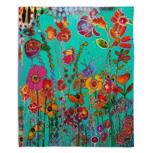Artistic Sherpa Pile Blankets | Kim Ellery - Bubbly | flower garden floral
