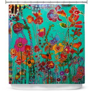 Premium Shower Curtains | Kim Ellery - Bubbly | flower garden floral