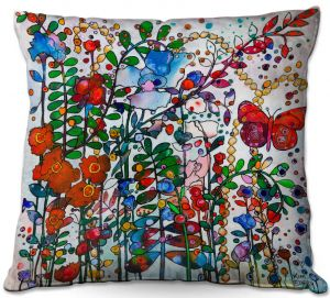 Decorative Outdoor Patio Pillow Cushion   Kim Ellery - Butterfly Garden   flower floral insect