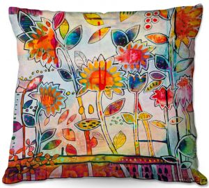 Decorative Outdoor Patio Pillow Cushion | Kim Ellery - Don't Box Me In | flower still life pattern