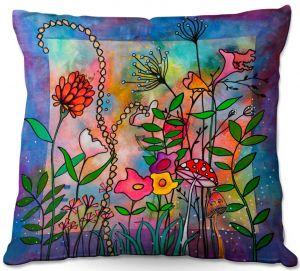 Decorative Outdoor Patio Pillow Cushion   Kim Ellery - Enchantment   frame flower