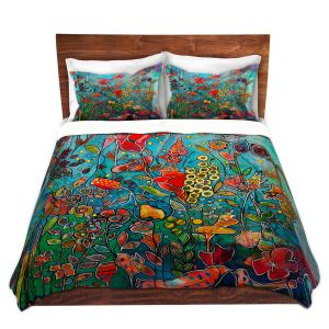 Artistic Duvet Covers and Shams Bedding | Kim Ellery - Eye See You | flower garden floral