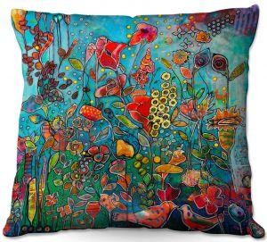 Decorative Outdoor Patio Pillow Cushion | Kim Ellery - Eye See You | flower garden floral