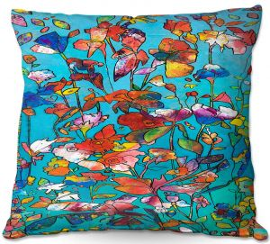 Decorative Outdoor Patio Pillow Cushion   Kim Ellery - I Found Love   Abstract Flowers