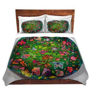 Artistic Duvet Covers and Shams Bedding   Kim Ellery - Spread Love   circle garden flower floral