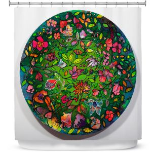Premium Shower Curtains | Kim Ellery - Spread Love | circle garden flower floral
