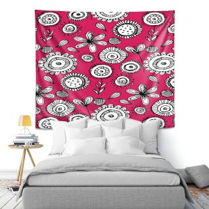 Artistic Wall Tapestry | Kim Hubball - Floral Doodle Pink 1 | Flower Pattern